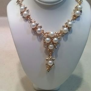 Gold Pearl and Cz Necklace